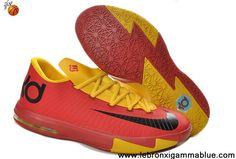 Buy Discount Red Yellow 599424-112 Kevin Durant Shoes Nike Zoom KD 6 Low Your Best Choice