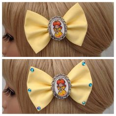 Princess Daisy hair bow clip rockabilly by GrimAndProperDesigns