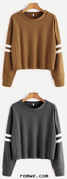 Varsity Striped Sleeve Crop T-shirt