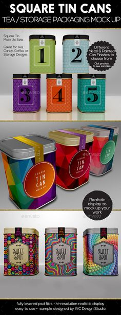 Packaging Mock Up Square Tin Cans for Tea or Coffee or Storage - Food and Drink Packaging