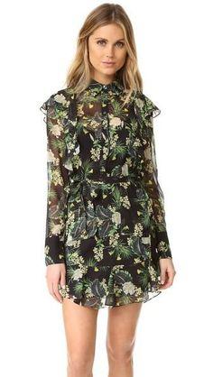 #FewModa - #MAD COLLARED RUFFLE LS BOTANICAL DRESS MDR0083 - AdoreWe.com