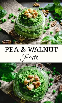 A simple pea and walnut pesto that can be whipped up in just a few minutes. It's dairy-free and vegan. Veggie Recipes Healthy, Pea Recipes, Dairy Free Recipes, Side Dish Recipes, Summer Recipes, Vegetarian Recipes, Side Dishes, Easy Cooking, Healthy Cooking