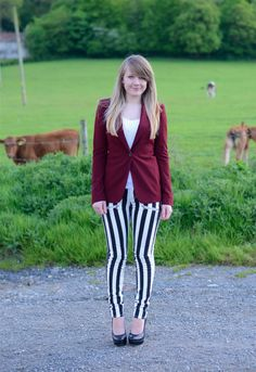 Stripes! http://raindropsofsapphire.com/2013/05/26/paige-black-and-white-stripes-with-burgundy/