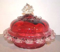 Stevens-Williams-Victorian-Glass-Cranberry-Butter-Dish-Rigaree-Thorns-Finial