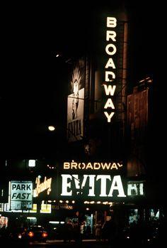 Broadway marquee Evita Broadway Theatre