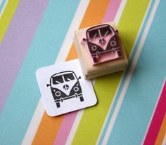 Mini Camper Van Hand Carved Rubber Stamp by Skull and Cross Buns Mini Camper, Small Camper Vans, Vw Camper, Vw Bus, Mini Bus, Vw Volkswagen, Campers, Diy Stamps, Handmade Stamps