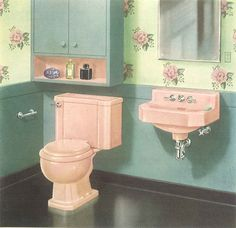 The color pink in bathroom sinks, tubs and toilets - from - Retro Renovation Bathroom Sink Decor, 1950s Bathroom, Mid Century Bathroom, Vintage Bathrooms, Bathroom Spa, Bathroom Colors, Victorian Bathroom, Bathroom Goals, Bathroom Ideas