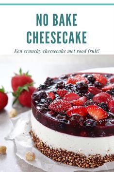 Deze waanzinnige crispy Cheesecake wil je maken! De combinatie van een krokante luchtige bodem in combinatie met een smaakvolle vulling is fantastisch! Het rode fruit maakt het plaatje compleet! Glutenvrij, lactosevrij recept! Cake Recipes, Dessert Recipes, My Pie, Cake Cookies, Bon Appetit, Babyshower, Cheesecake, Deserts, Paleo
