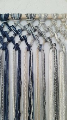 Tapestry Macrame Yarn Tapestry Yarn Wall Hanging Wall Tapestry Blue Beige White and Gray Wall Decor Macrame Art, Macrame Projects, Macrame Knots, Yarn Projects, Art Macramé, Yarn Wall Hanging, Macrame Wall Hangings, Ideias Diy, Macrame Patterns