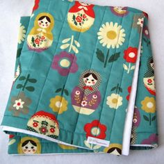 Matryoshkas Baby QUILT - Baby Bedding - Nesting Dolls on Turquoise Blue with Organic Cotton (Ready To Ship)