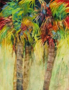 PALM FANTASY WATERCOLOR ON YUPO 24 X 30 MATTED $250.00