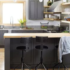 Charcoal Gray Cabinets - Contemporary - kitchen - Style at Home