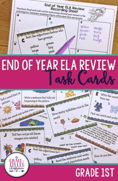 These end of year ELA task cards are perfect for your 1st Grade class! This single item comes with 24 different cards for the students to practice second grade ELA standards. Plenty to use in a day or spread out throughout the week. I've also included different variations on how to use these task cards. This is the perfect way to get the students up and moving around the room but still working!|English Language Arts| Holidays|Seasonal|End of Year|