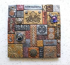 Polymer Clay Tile Mosaic Steampunk 6 x 6 Assemblage Mixed Media Lee Ann Emery Polymer Clay Kunst, Polymer Clay Projects, Polymer Clay Creations, Handmade Polymer Clay, Mosaic Tile Designs, Mosaic Tiles, Inspiration Artistique, Play Clay, Clay Tiles