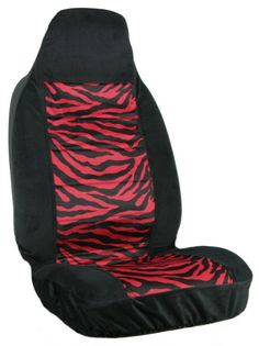 Girly Zebra Red Stripe Front Car Seat Cover Accessory