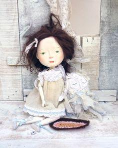 I love this doll!    Super Fall Sale Viriginia and Costas the Owl Original Art by holli