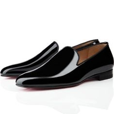 Christian Louboutin Henri Mens Flat Patent Leather Sneakers Black