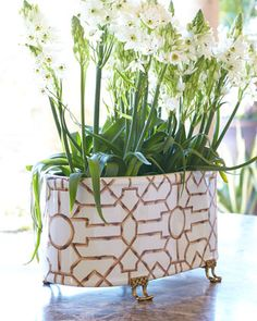 Baldwin White Oval Planter by Scalamandre Maison by Port 68 at Neiman Marcus.
