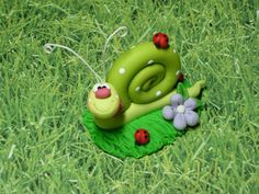 Polymer Clay Garden Snail  Figurine by ClayBabiesInc on Etsy