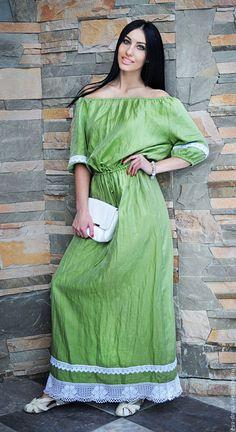 """Купить Льняное длинное платье """"Лайм"""", платье из натурального льна - салатовый, однотонный, льняное платье"""