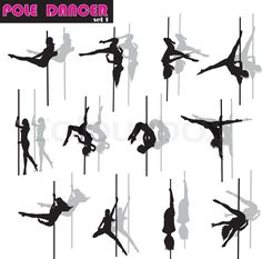 Stock vector of 'Pole dancer woman vector silhouettes set. Separate layers'