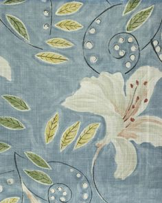 Angelica Fabric A floral lily painterly design curtain fabric, inspired by a Vanessa Bell from the Bloomsbury group, in stone with green and...