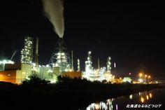 室蘭夜景 JX室蘭工場のライトアップ