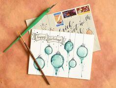 comment fabriquer une carte de Noël peinte aquarelle #Noël #christmascard