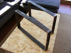 Pieds de table basse en fer plat hauteur 30 ou 35 cms