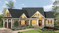 Gabled 3 Bedroom Ranch Home Plan - 15884GE | Craftsman, Mountain ...