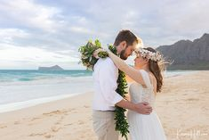 "Jordan and Robbie said ""I do"" with their toes in the sand at a truly intimate Oahu Elopement at one of our favorite spots on the island. Beach Wedding Locations, Destination Wedding, White Wedding Bouquets, Floral Wedding, Oahu Beaches, Grace Christian, Pastor John, Paradise Cove"