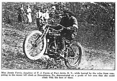 """Finally I found her!  This is a photo of Jennie Forrie in 1923 who was banned from competing in hill climb events because she was the only female, but still """"crashed"""" the Delaware Gap event and went for it, blowing everyone away.  Made several newspapers."""