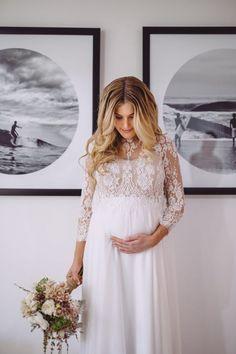 brautkleid fuer schwangere, spitzenkleid mit langen aermeln, locker fallend und leicht