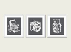 Vintage Cameras Print Set - Modern Retro Home Decor - Photographer Gift - Dark Grey Charcoal Multi Panel Wall Art on Etsy, $35.61