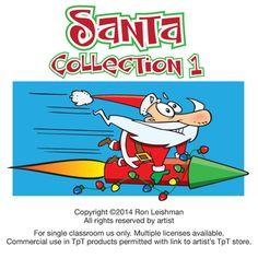 Funny clipart cartoons of Santa
