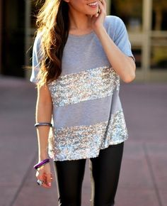 this top... stripes of sparkle on a gray tee