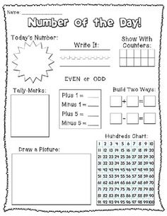 Number of the Day! (Numbers 1-10) teacherspayteachers