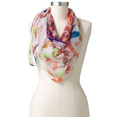 Feathers Sheer Square Scarf