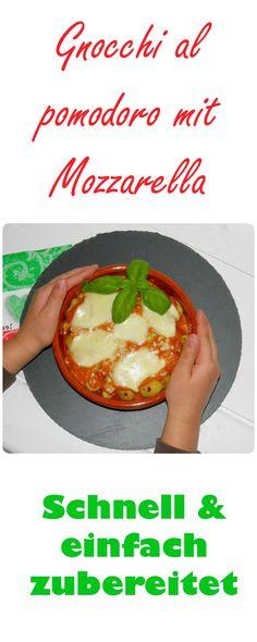 Gnocchi al pomodoro mit Mozzarella. Gnocchi mit Tomatensoße kommen bei meinen Kindern immer gut an. Soße dauert im Thermomix ca. 10 Minuten. Über die Gnocchi gießen und ab in den Backofen. Lecker!