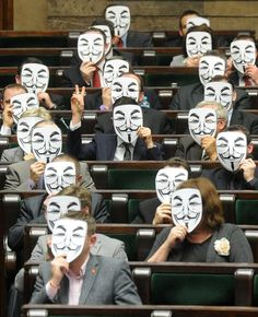 Arguably political art when Polish Lawmakers wear these masks in protest of a SOPA-like law being passed. Why can't our politicians be this classy?