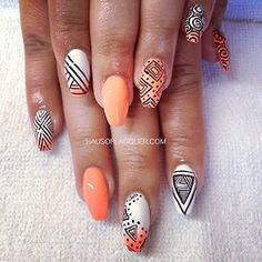 orange Aztec nail art