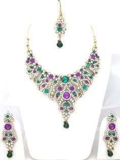 Designer India Necklace Earrings Purple Green Stone Studded Indian Fashion Jewelry Sets Mogul Interior, http://www.amazon.com/gp/product/B00975R9R6/ref=cm_sw_r_pi_alp_7Qvtqb0CVDS1K