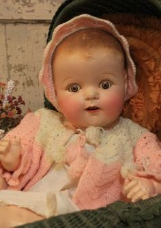 "Big 25"" Composition and Cloth Old Antique Baby Doll in Vintage Clothing 