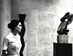 silvana mangano at moma nyc 1956 by eve arnold, magnum photographer  + mlle pogany I, bronze by brancusi