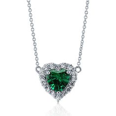 BERRICLE 925 Silver Heart Shaped Simulated Emerald CZ Halo  Pendant... ($50) ❤ liked on Polyvore featuring jewelry, necklaces, accessories, emerald, pendant necklace, women's accessories, silver necklace, pendant necklaces, heart shaped necklace and silver necklace pendant