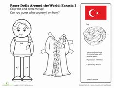 Paper dolls from around the world, great craft for Thinking Day! Social Studies Worksheets, Worksheets For Kids, Activities For Kids, Kids Around The World, Around The Worlds, Coloring For Kids, Coloring Pages, Coloring Worksheets, Little Passports