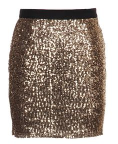 Platinum Status Skirt: Features a fitted high waistband, glittering gold sequins covering both sides of the skirt, and a gorgeous snug silhouette to finish.