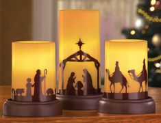 Collections Etc LED Flameless Christmas Nativity Scene Candles, Holiday Home Decor Accents - Set of 3 Christmas Candles, Christmas Centerpieces, Christmas Decorations, Holiday Decor, Flameless Candles, Pillar Candles, African Christmas, Nativity Silhouette, Christmas Nativity Scene