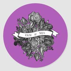 Black and White Roses Electric Purple Wedding Classic Round Sticker Luxe Wedding, Purple Wedding, Elegant Wedding, Beautiful Wedding Invitations, Floral Wedding Invitations, Electric Blue Weddings, Black And White Roses, Goth Look, Wedding Party Favors