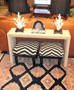 Little Green Notebook: Upholstering a Parsons Console Table